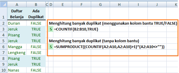 Fungsi COUNTIF Menghitung Duplikat Dalam Kolom