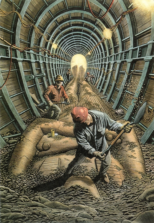 25-Tunnelling-Douglas-Smith-Scratchboard-Drawings-Through-Time-and-Lives-www-designstack-co