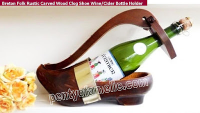 Vintage Breton folk shoe Bottle holder, Hand Carved wood folk Clog made in Brittany