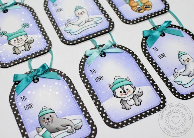 Sunny Studio Stamps: 25 Days of Christmas Tags using Polar Playmates by Mendi Yoshikawa