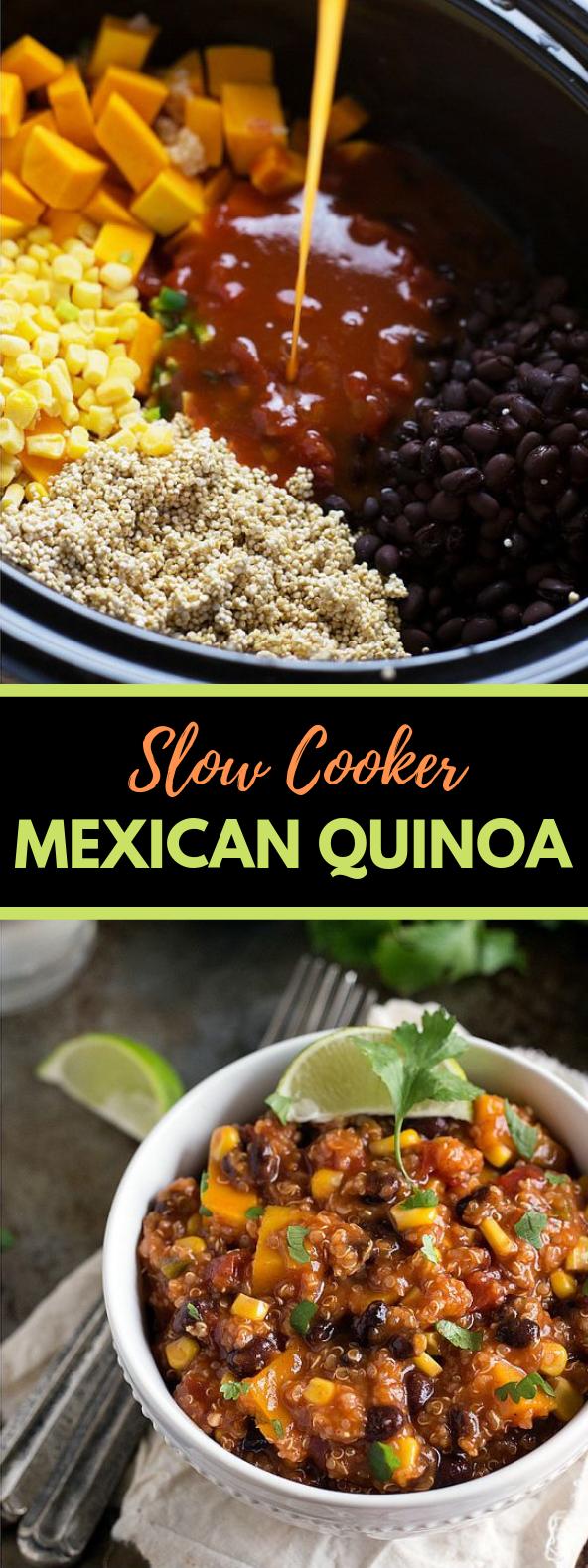 {SLOW COOKER} MEXICAN QUINOA #Vegetarian #Crockpot