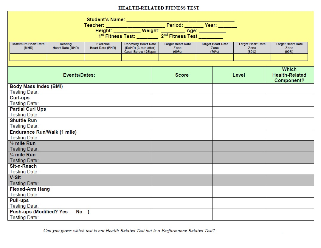 Access To Healthy Active Living Fitness Record Sheets