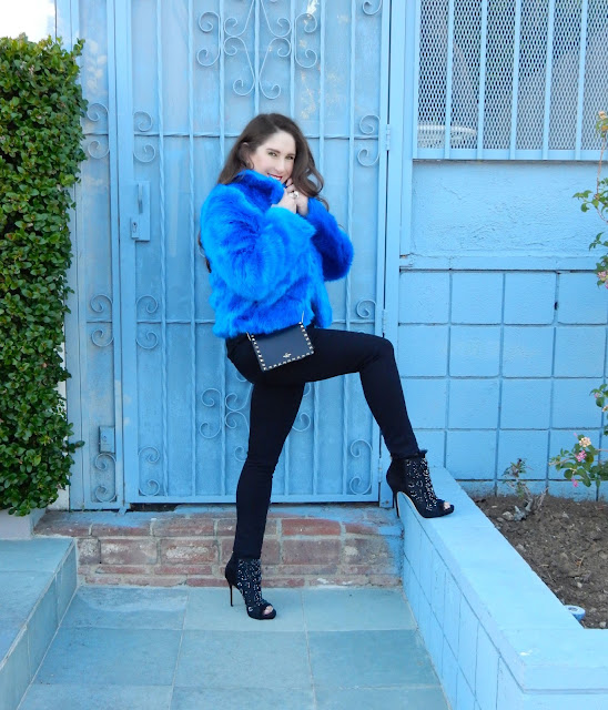 Marisa Stewart, The High Heeled Brunette wearing outfit from Nordstrom. Blue faux fur jacket with rhinestone Jimmy Choo Booties