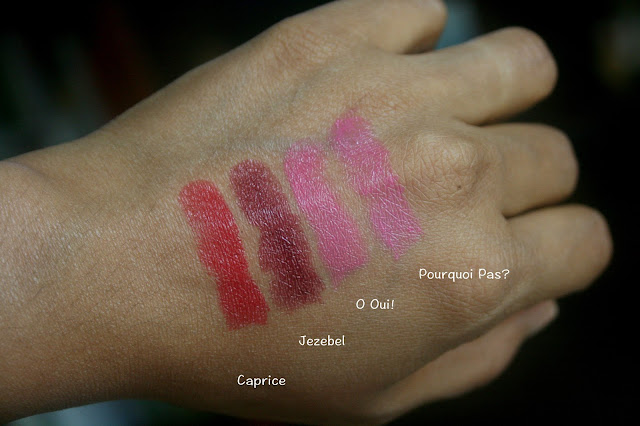 Lancome L'Absolu Rouge Lipsticks in Caprice, Jezebel, O Oui !, Pourquoi Pas ? Swatches