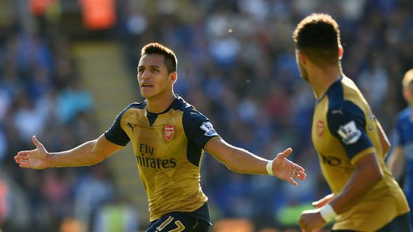 Alexis Sanchez celebrates after scoring for Arsenal vs Leicester