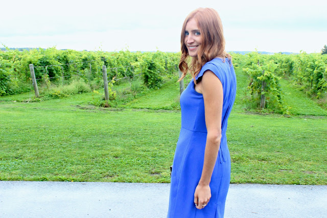 Blue dress and mixed metals- Winery Wedding Attire