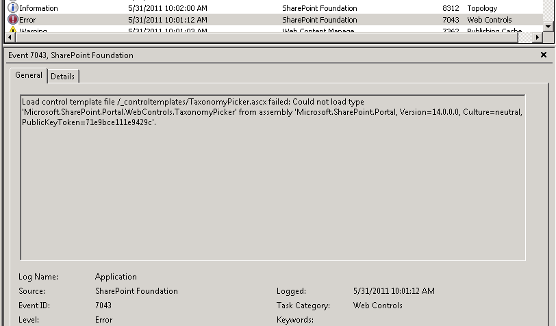 Richard Wilson: SharePoint 2010, Event ID 7043: Could not load type ...
