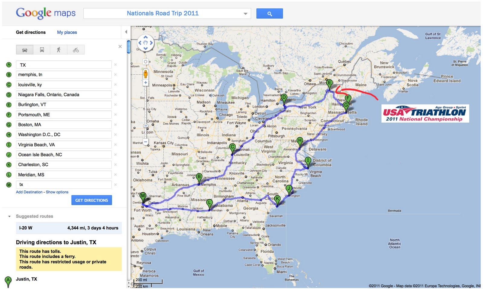 Iron Texas Mommy Tentative Road Trip