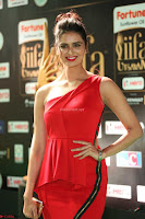 Meenakshi Dixit in Red One Shoulder Red Zipped up gown at IIFA Utsavam Awards021.JPG