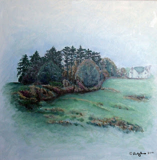 Autumn oil painting hedges