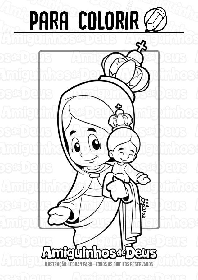 Nossa Senhora de Cimbres desenho para colorir