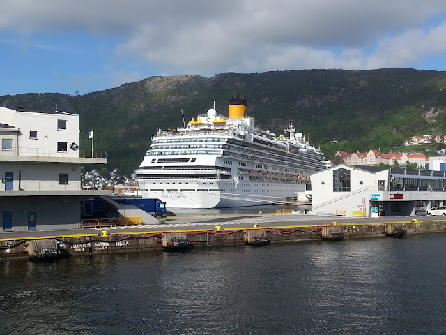 Cruise ship Costa Favolosa in Bergen, Norway; Fjords cruise; Ships in Bergen
