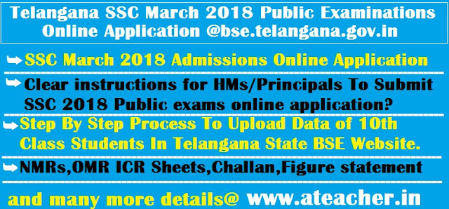 Telangana SSC March 2018 Public Examinations Online Application @bse.telangana.gov.in