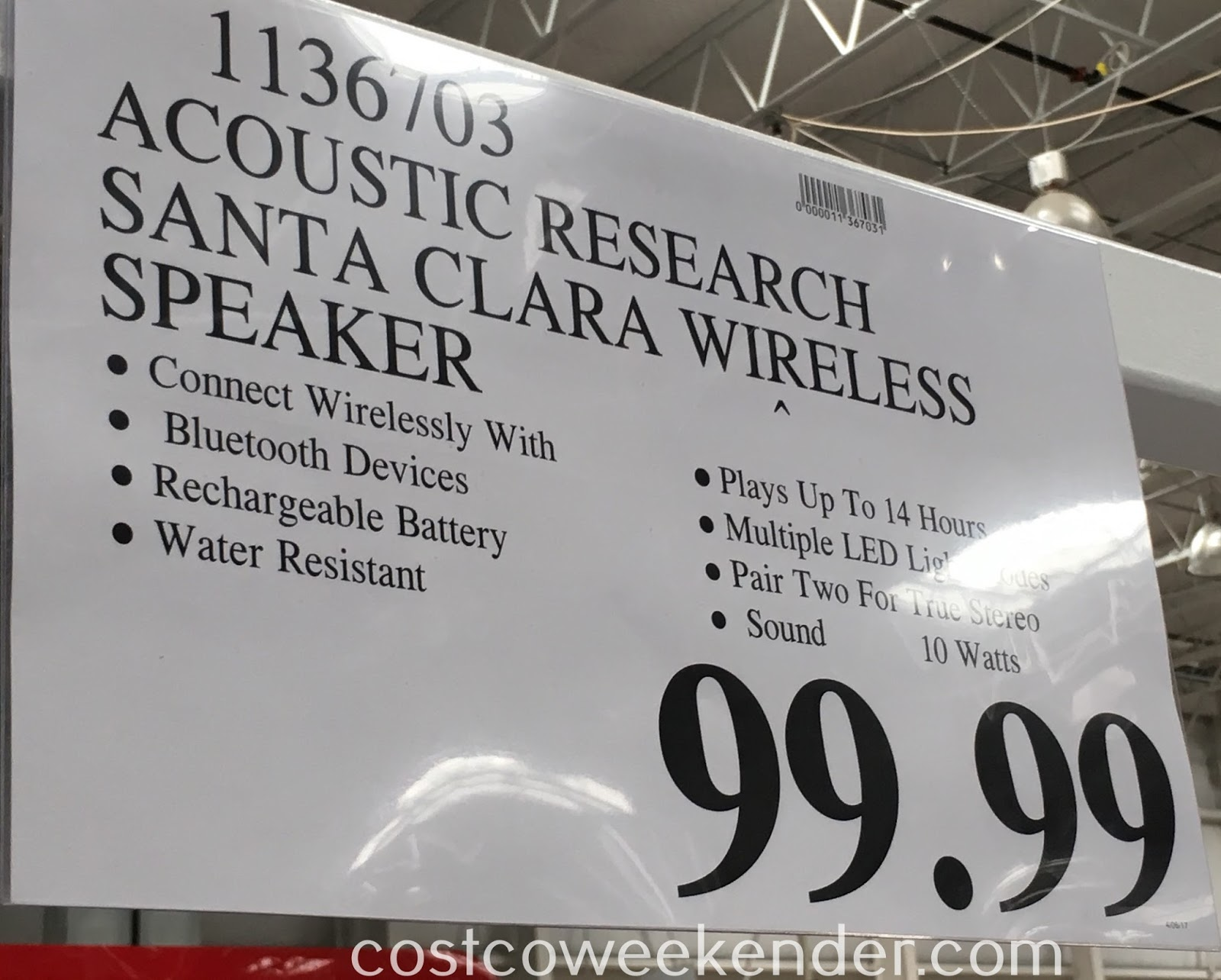 Deal for the Acoustic Research Santa Clara Portable Wireless Speaker at Costco