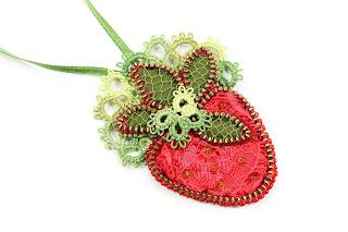Strawberry zipper necklace