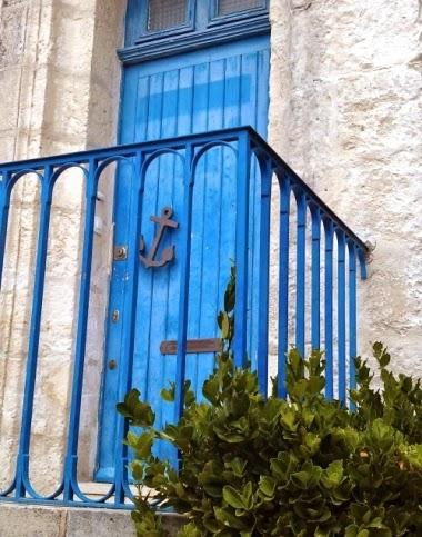 blue door with anchor