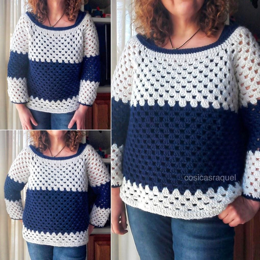 cosicasraquel: Jersey Granny Stripe Fácil y Rápido a Crochet