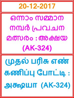 Kerala lottery First Prize Guessing competition AKSHAYA AK-324