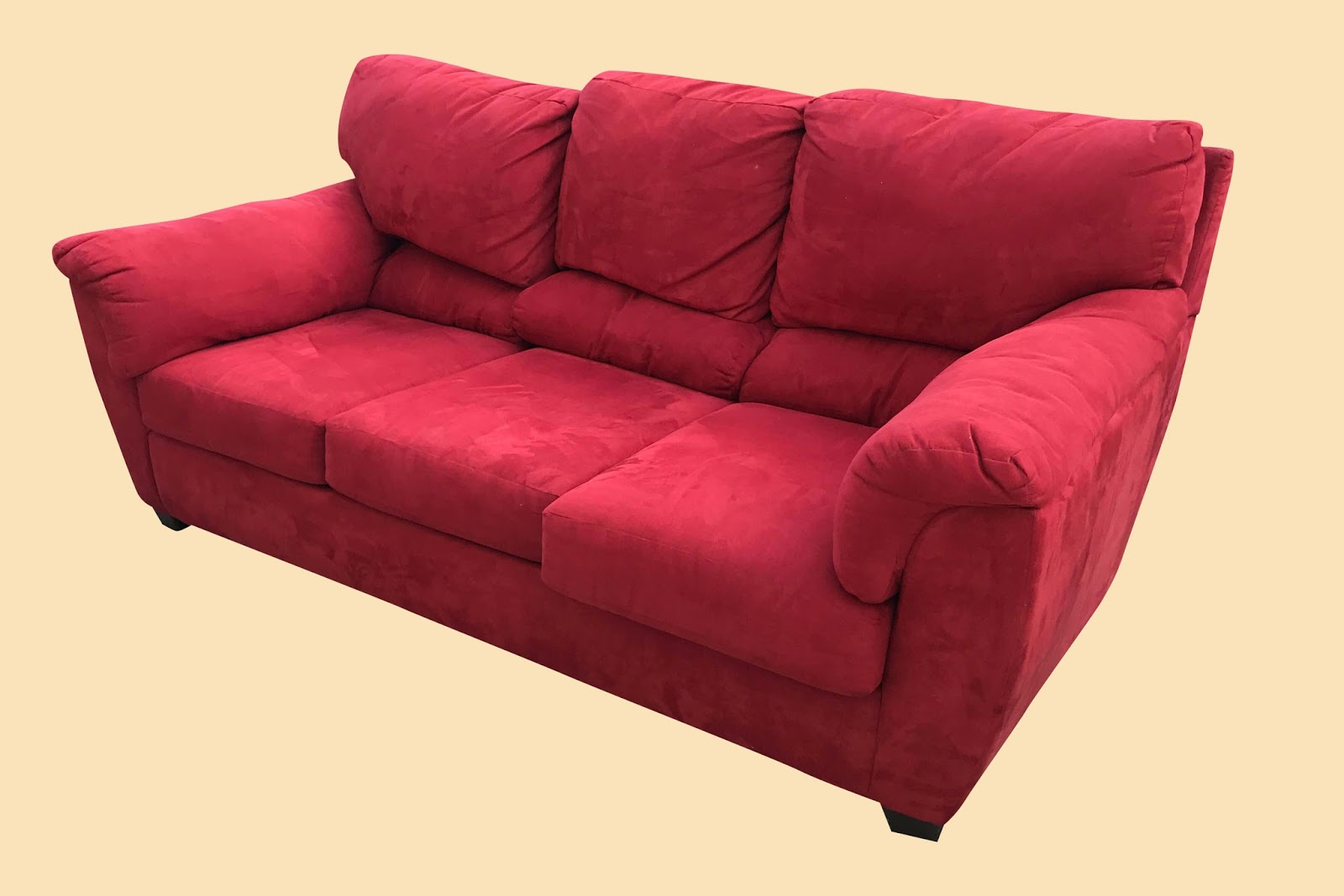 Uhuru Furniture Collectibles Red Microfiber Sofa 225