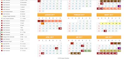 Kalender Pendidikan 2016/2017 Untuk SD/MI, SMP/Mts, SMA/MA