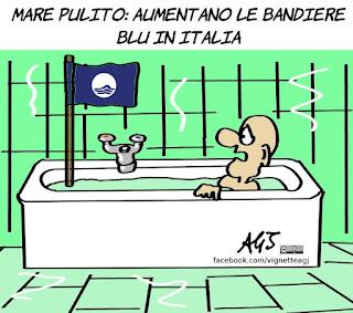 ambiente, legambiente, bandiere blu, mare pulito, umorismo, vignetta, satira
