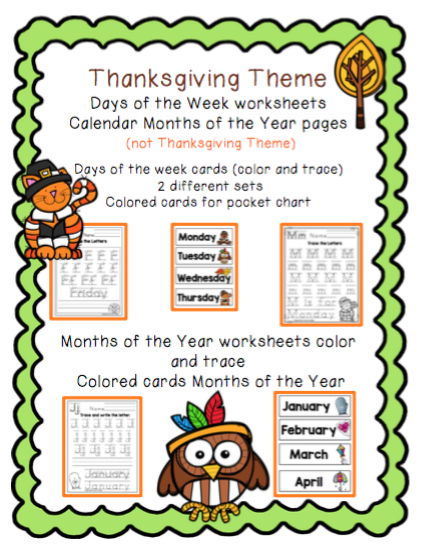 Thanksgiving Worksheets Days Of The Week Months Of The