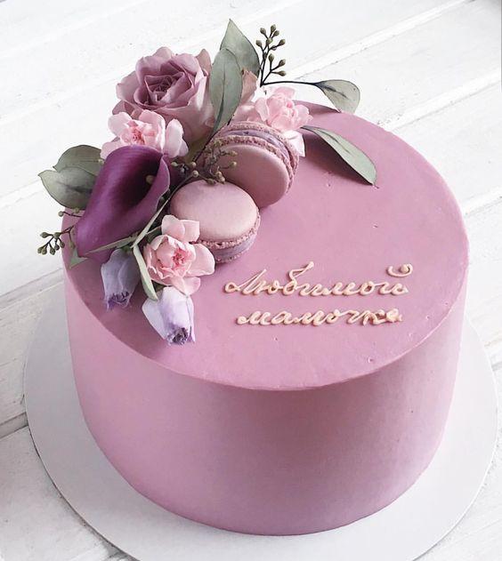 bánh sinh nhật màu tím thủy chung