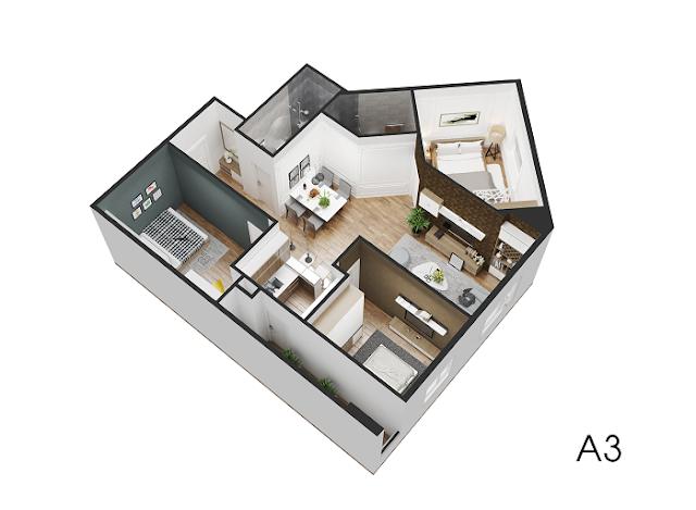 Thiết kế căn hộ A3 Eco City