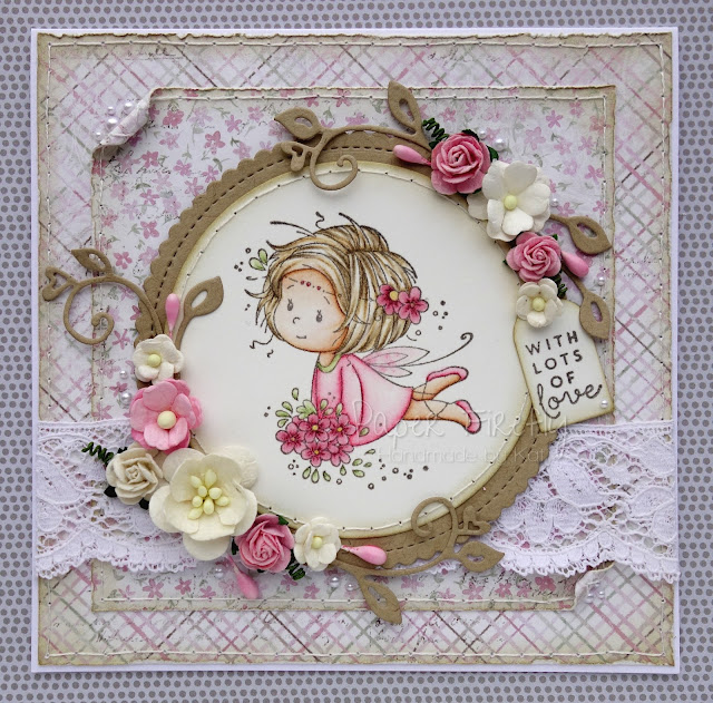 Pink, floral, girly card featuring a cute fairy (image by Wee Stamps)