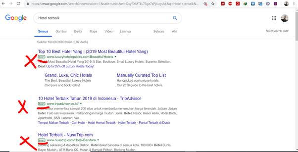 contoh iklan pada hasil pencarian google