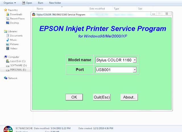 Resetter Epson Stylus Color 1160
