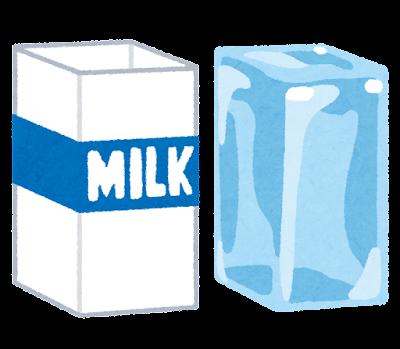 牛乳パックで作った氷のイラスト
