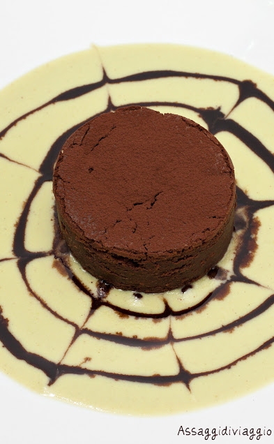 Chocò-Marron con crema inglese al pistacchio