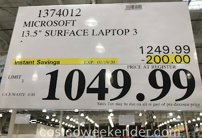 Deal for the Microsoft 13.5in Surface Laptop 3 at Costco