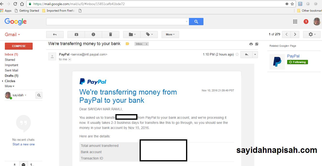 Cara Mudah Transfer Duit Dari Akaun Paypal Ke Akaun Bank