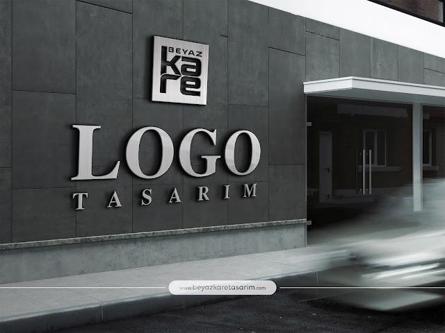 3D logo tasarımı bina girişi