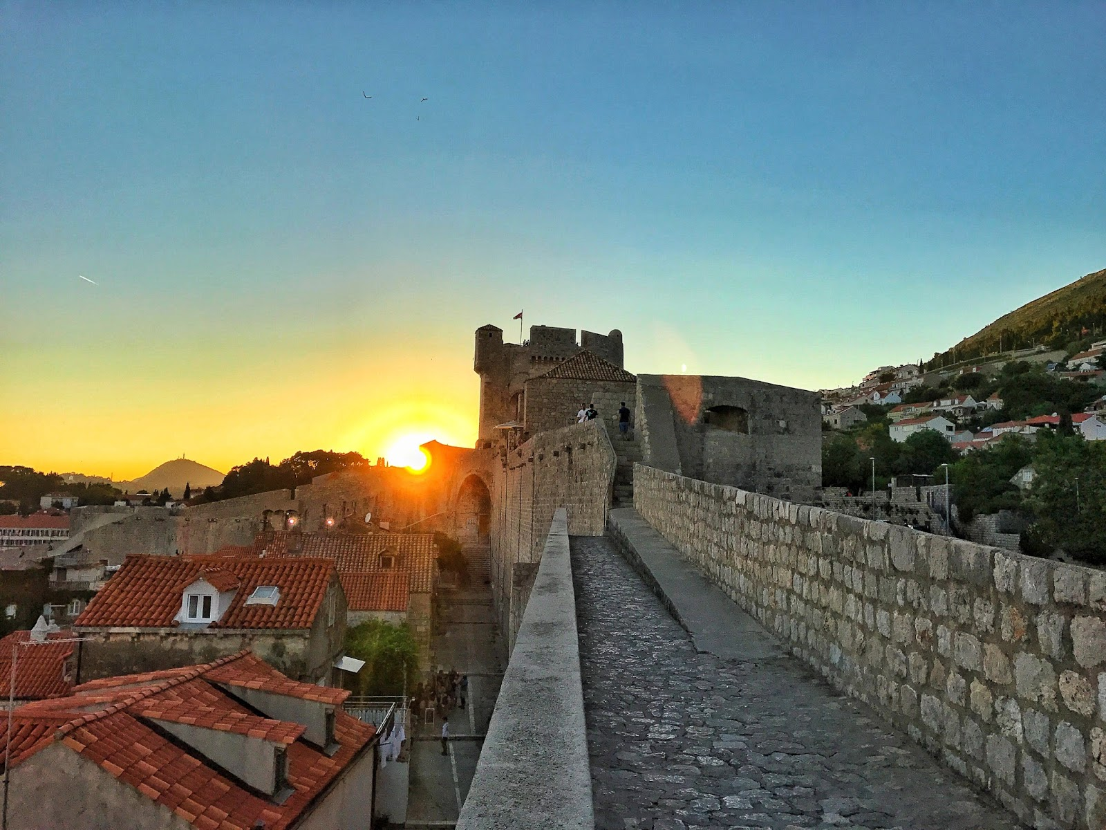 sunset scenery on the old city walls Dubrovnik