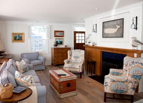 Nautical Nantucket Style Living Room Decor
