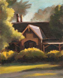 Oil painting of a bluestone building with a gabled roof, surrounded by trees and vegetation.