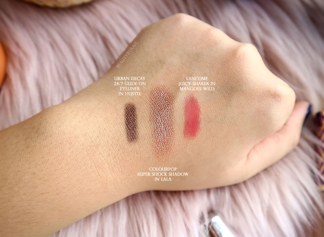 Lancome Juicy Shaker in Mangoes Wild and colourpop LALA review and swatch