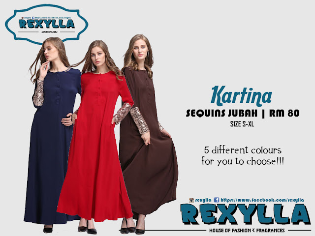 rexylla, sequins, sequins jubah, kartina collection