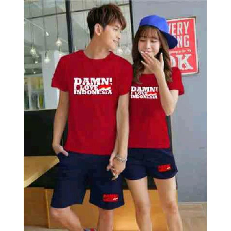 Jual Online CS Damn I Love Indonesia Red Navy Couple Murah Jakarta Bahan Babytery Terbaru