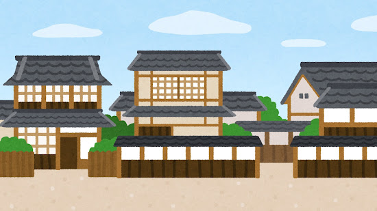 日本家屋のイラスト(背景素材)