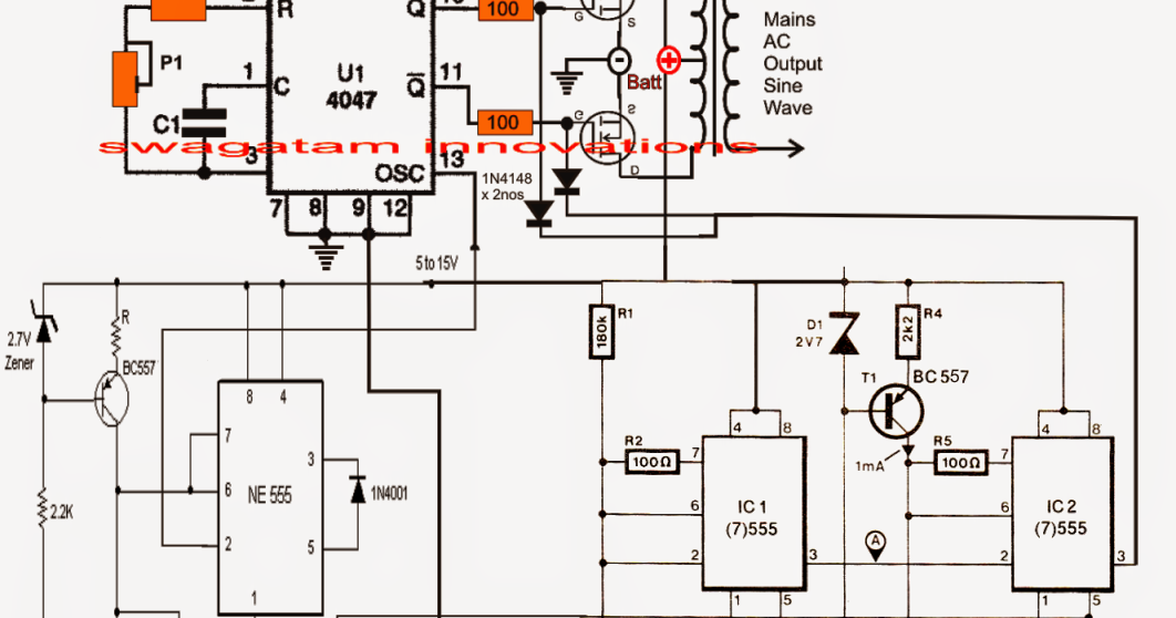Pure Sine Wave Inverter Circuit Using Ic 4047 Electronic