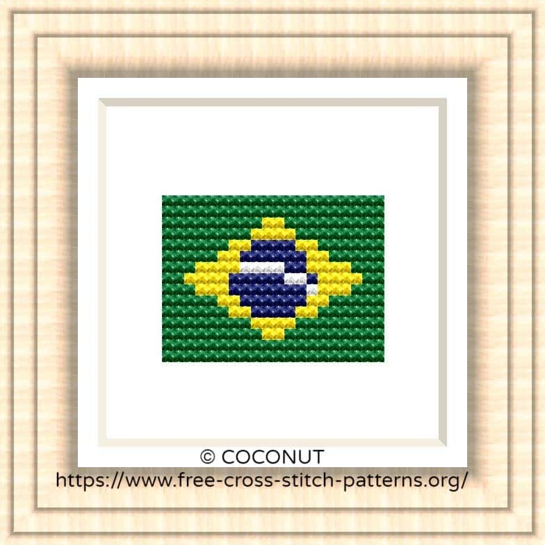 NATIONAL FLAG OF BRAZIL CROSS STITCH CHART
