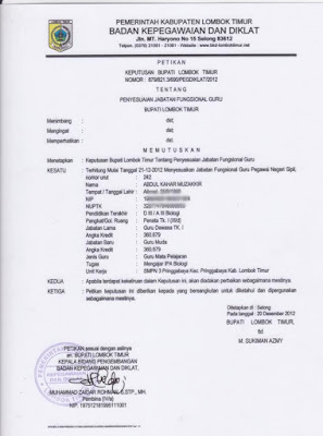 Contoh SK Penyesuaian Jabatan Guru
