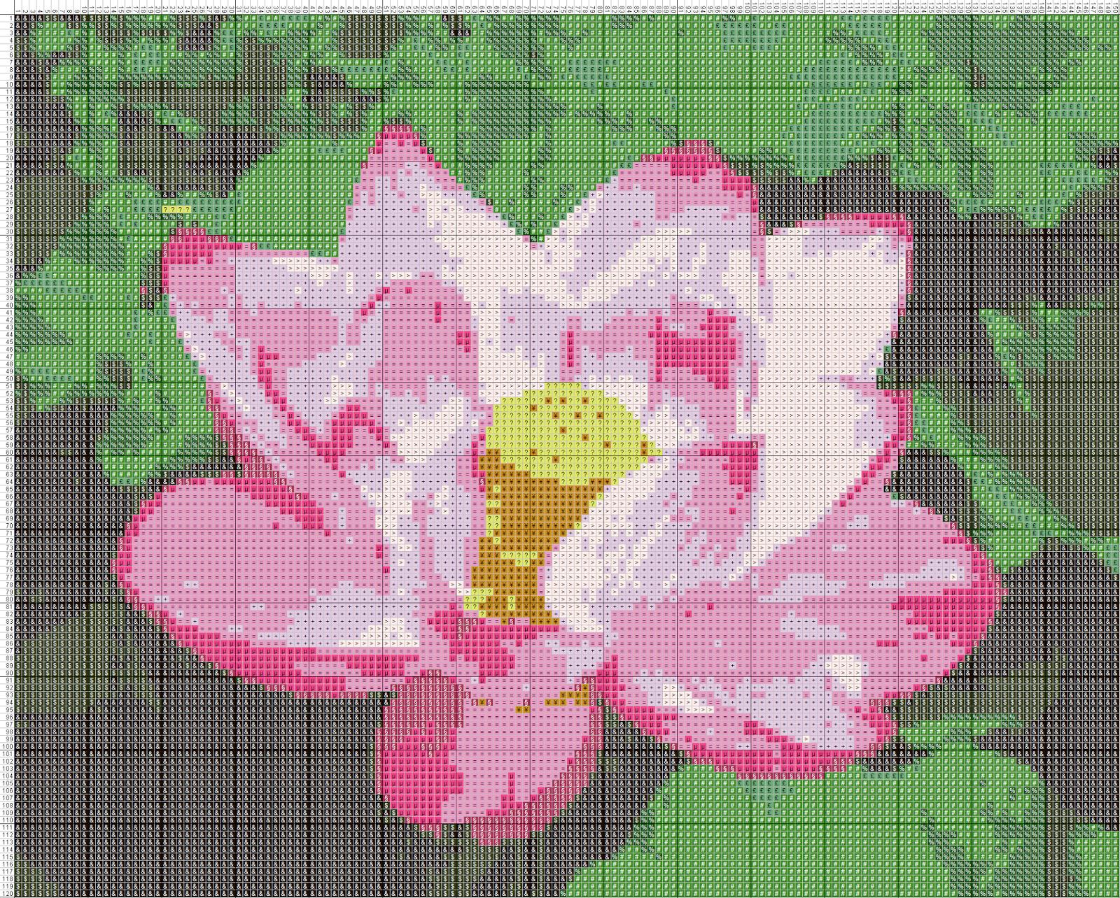 Gambar Pola Kristik Bunga Teratai 2 Free Cross Stitch Pattern