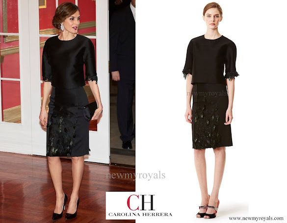 Queen Letizia wore Carolina Herrera Dress - Pre-Fall 2015 collection