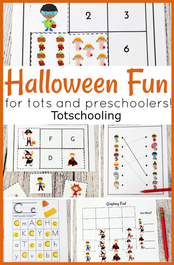 FREE Halloween printables for toddlers and preschool kids. A fun activity pack to work on counting, beginning sounds, fine motor skills, graphing and visual discrimination.