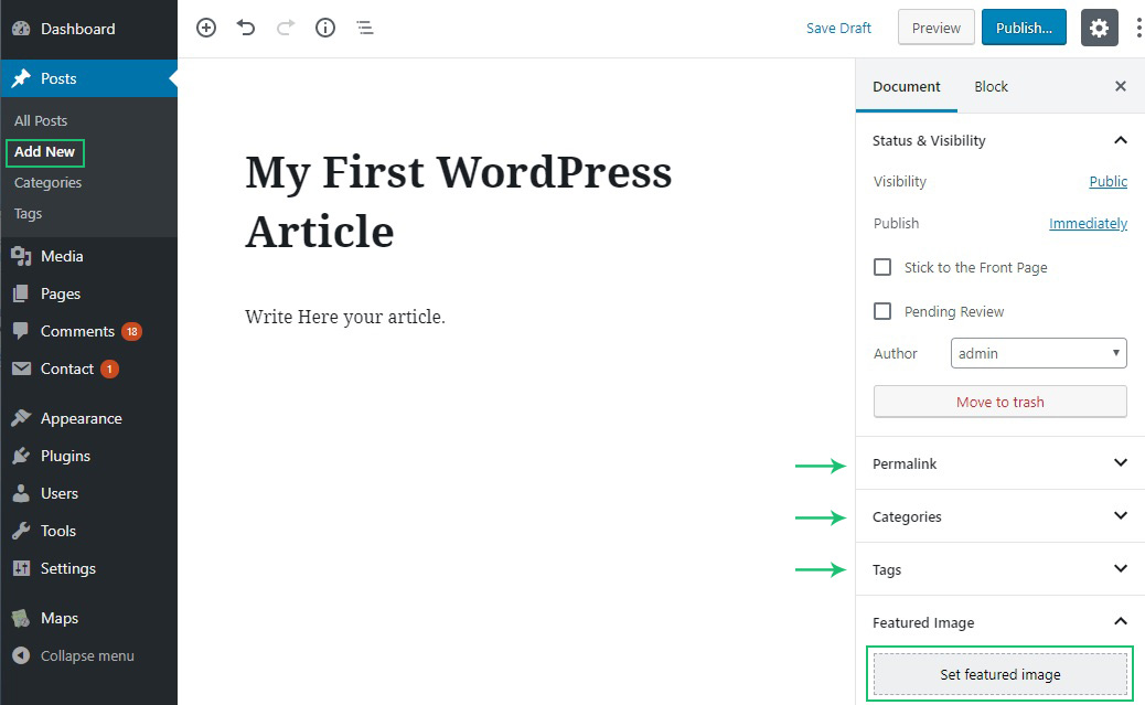 How to Write your First Blog Post in new wordpress editor?
